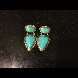 Thailand Silver 925 and Turquoise pierced earrings